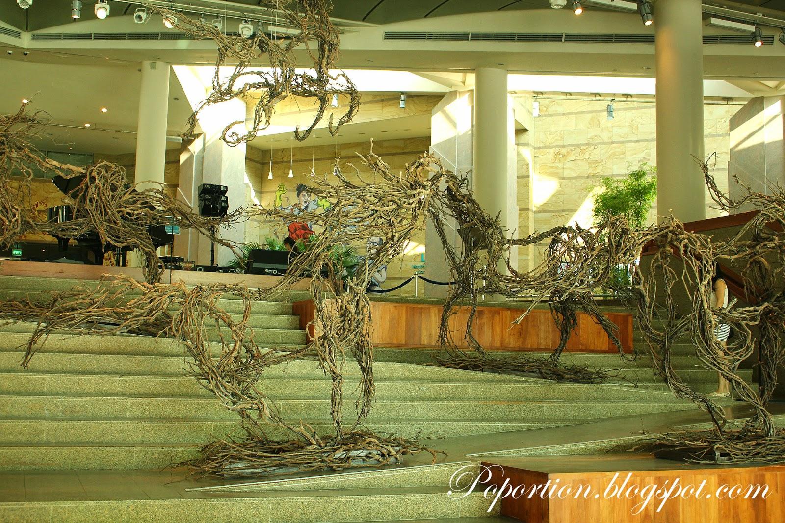 horse made from tree bark