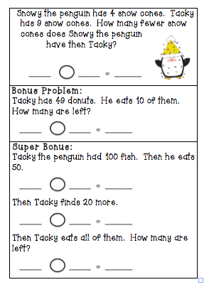 The Very Busy Classroom: Penguin Story Problems