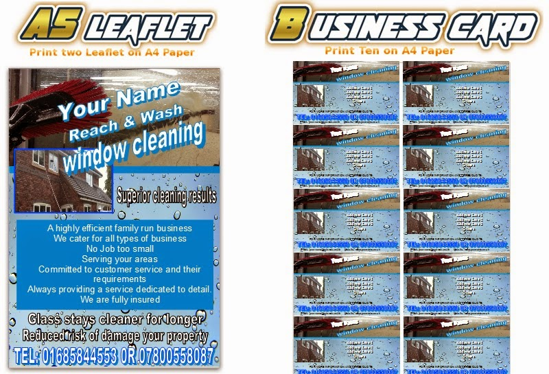 Reach Amp Wash Window Cleaning Leaflets Flyer Business Cards
