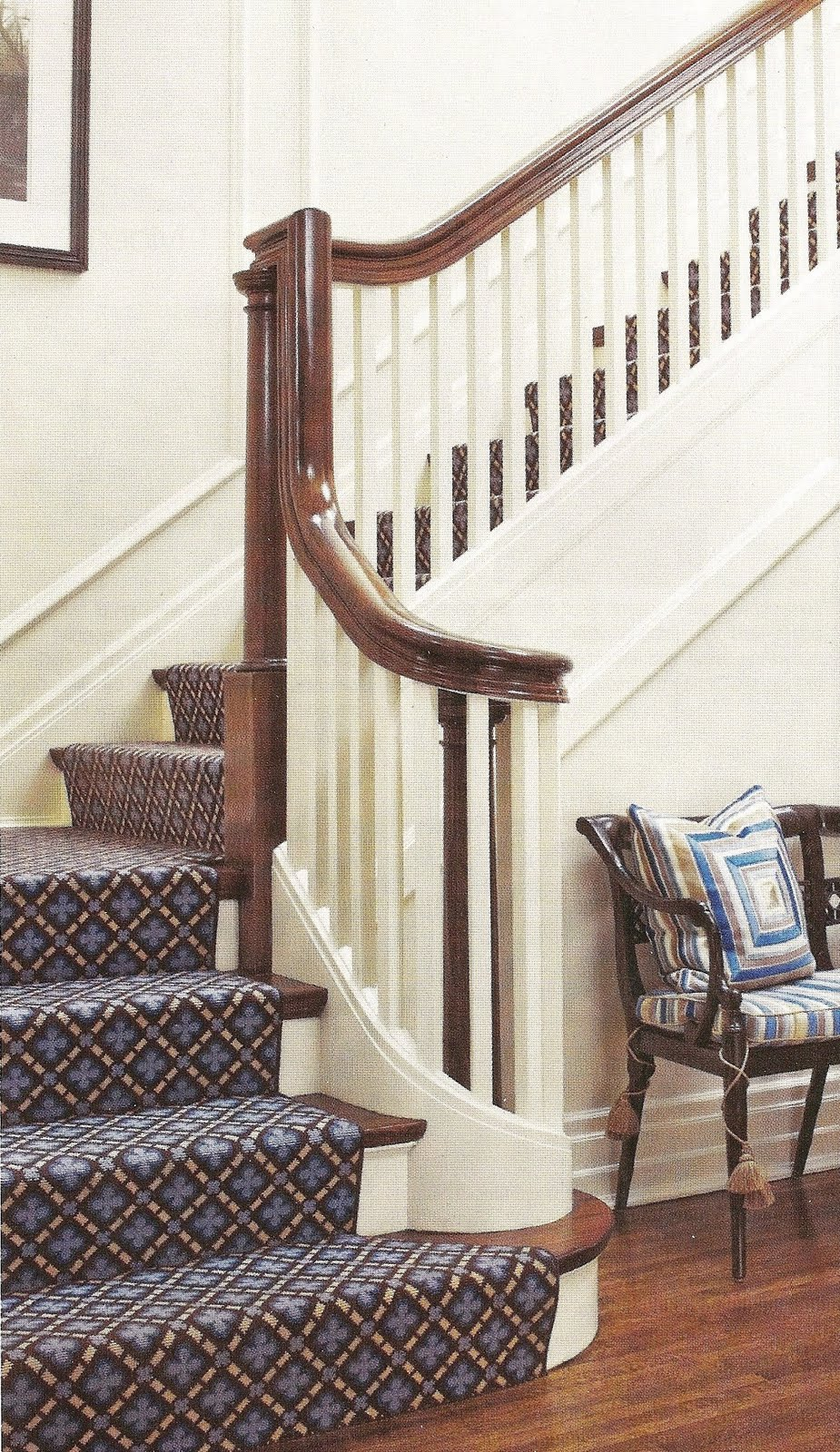 This Is The Most Popular Style: Wood Steps, Painted Risers And The Runner  Touching The Floor.