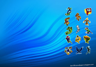 Ben 10 desktop Posters Wallpapers Alien Monsters in Blue Ripple background