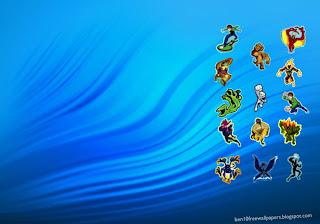 Ben 10 desktop Posters Wallpapers Alien Monsters in Blue Ripple background