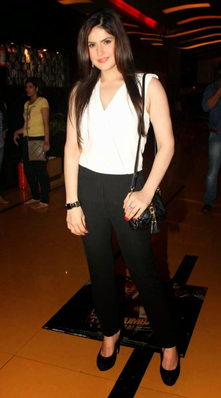 zarine khan latest white top photos