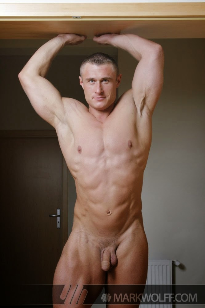Nude male bodybuilding poses