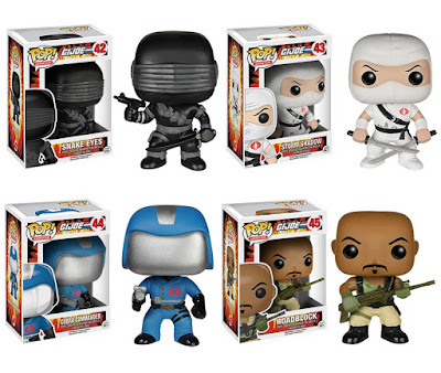 G.I. Joe A Real American Hero Pop! Series 1 Vinyl Figures by Funko - Snake Eyes, Storm Shadow, Cobra Commander & Roadblock