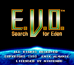 E.V.O. Search for Eden title screen.
