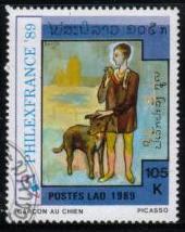 1989年ラオス人民民主共和国 ピカソの「少年と犬」の切手