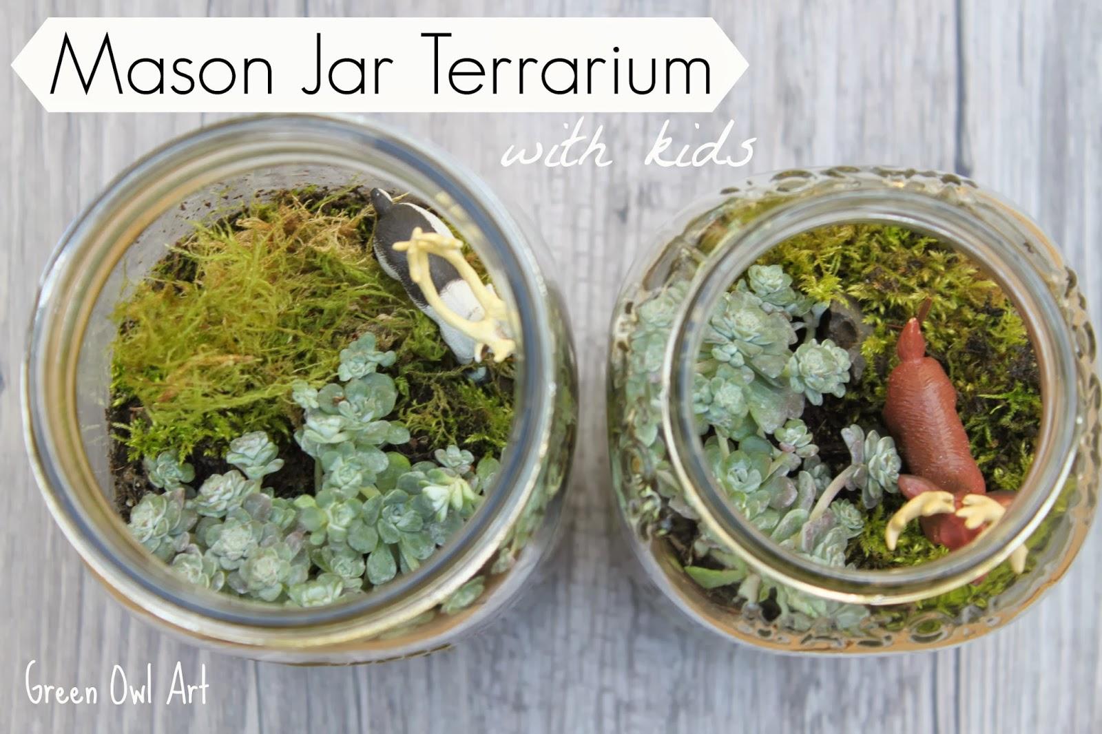 Green Owl Art Mason Jar Terrarium