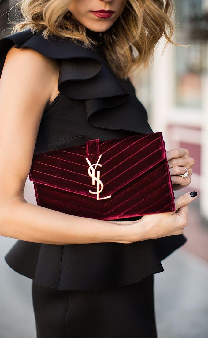 Women 39 S Fashion Ruffling Black Top With Burgundy Yves Saint Laurent Velvet Purse