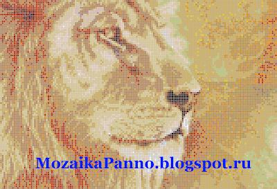 Картина из стеклянной мозаики — «Лев»