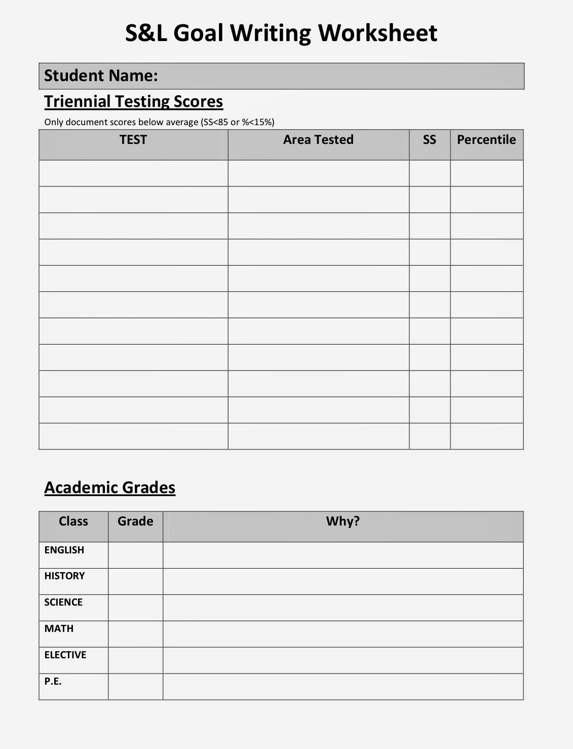goal worksheet for middle school students other
