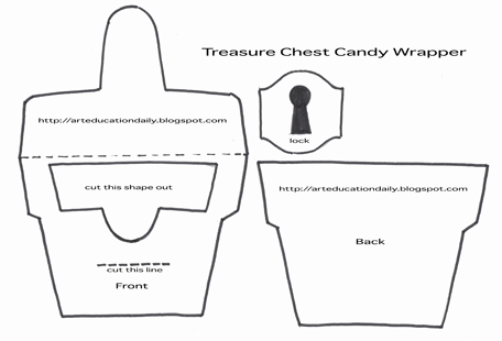 cut and paste treasure chest candy wrappers art education daily