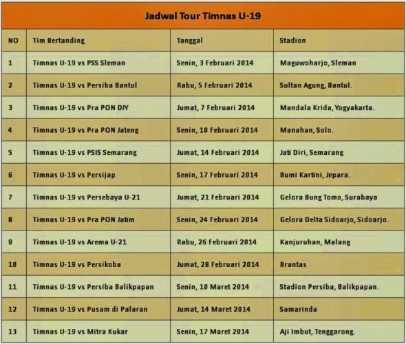 Jadwal uji coba Timnas U-19 dalam Tour Nusantara Tahun 2014
