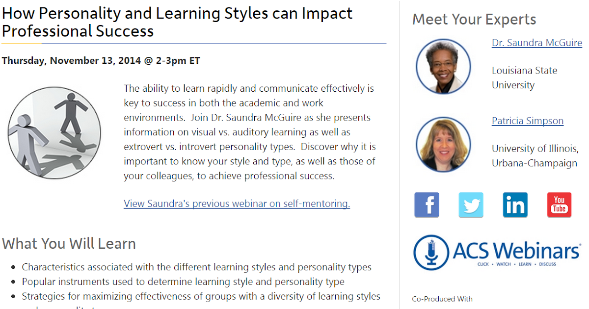 learning styles and personality types in Personality types and learning styles when collaborating with a learning team in an online classroom, there will be a wide variety of personalities and learning styles through learning how to effectively work together toward a common goal, it is possible to apply those skills to all aspects of life.