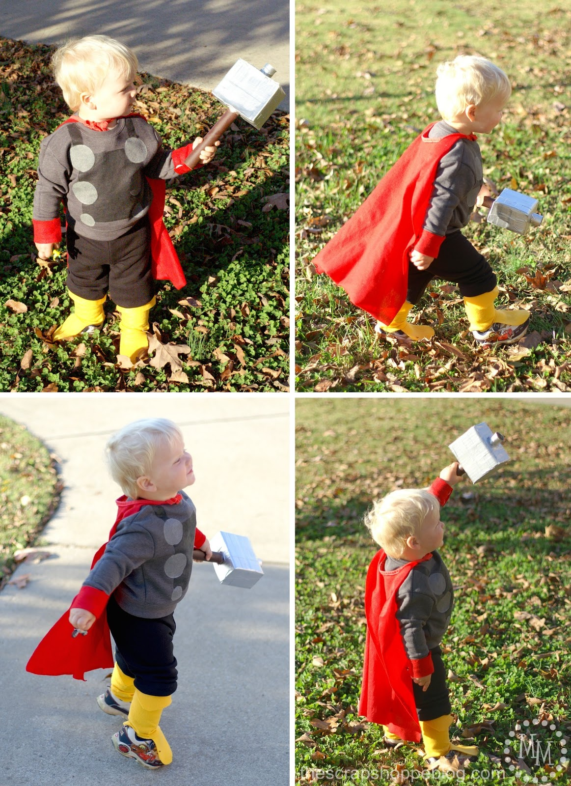 Diy captain america thor costumes the scrap shoppe it actually kind of adds some bulk to his skinny little legs making them look a little more muscular solutioingenieria Images