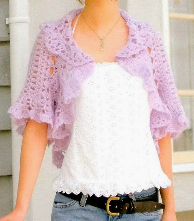 Crochet Shrug Pattern : Crochet Shrug Pattern - Stylish Shrug Bolero For Young Women