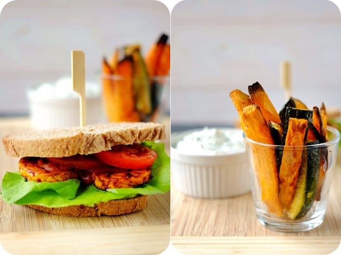 TLT-Sandwich mit BBQ-Soße & Zucchini- und Süßkartoffel-Sticks mit Kräuterquark