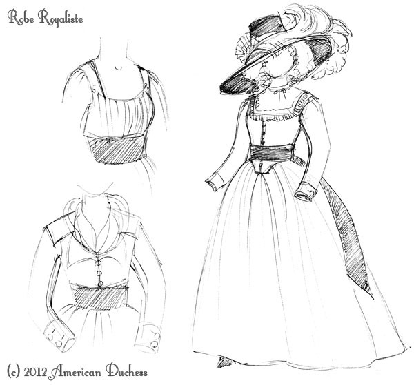 v203 new dress design robe royaliste american duchess Party Picnic Dress this gown will be robe royaliste if we were in france in 1790 both the purple and the black were royalist colors and add in a little green or yellow