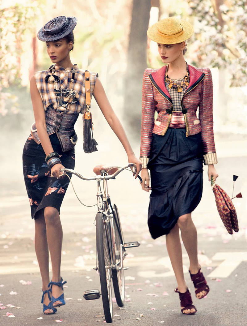Jourdan Dunn & Anna Marie Jagodzinska photographed by Steven Meisel for Vogue US February 2009 / bicycles in Vogue, Harper's Bazaar, Marie Claire, Elle fashion editorials and campaigns / via fashioned by love british fashion blog