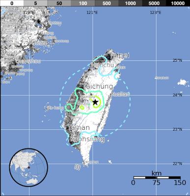 Epicentro sismo Taiwan, 02 de Junio de 2013