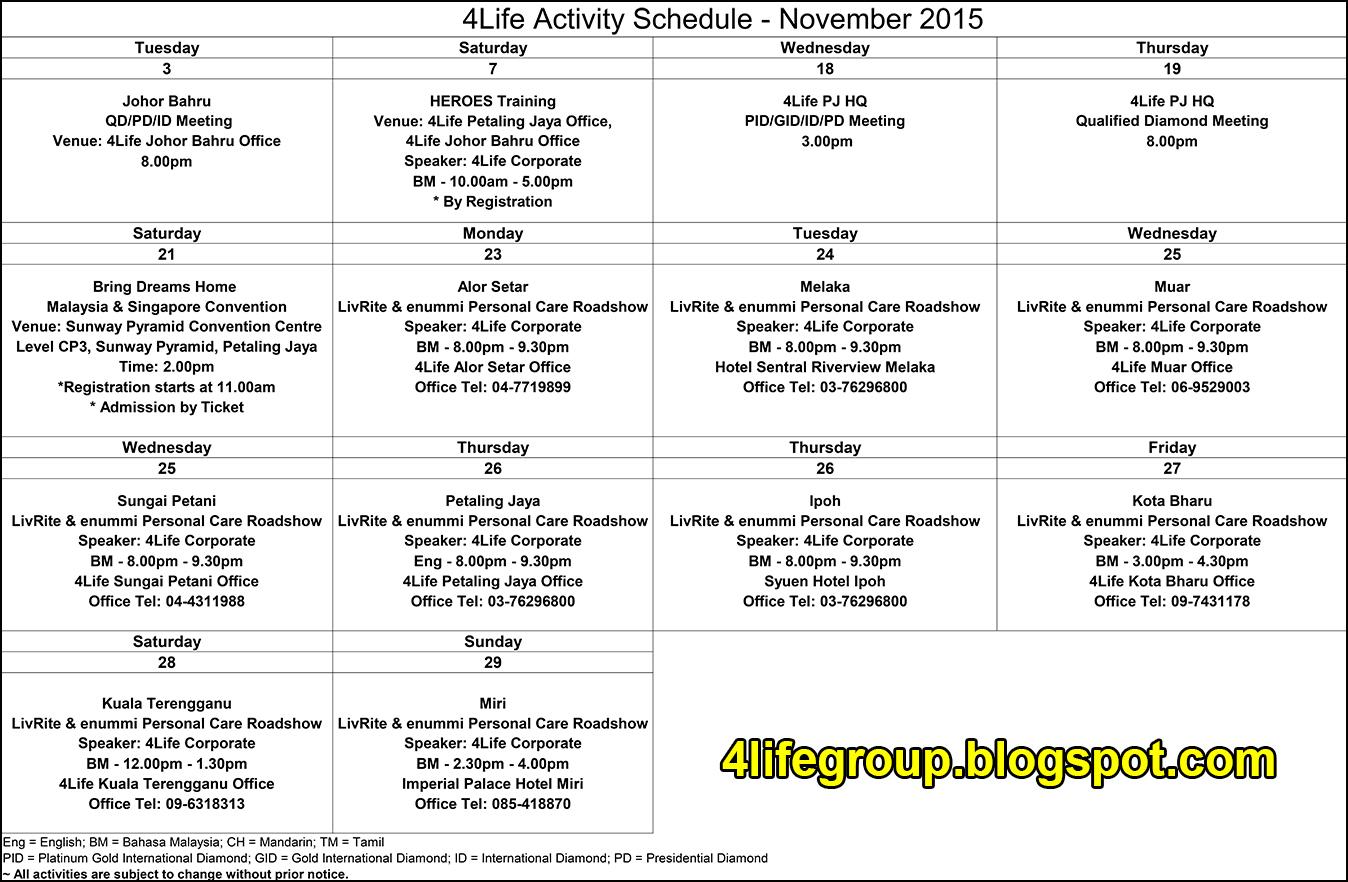 foto Jadual Aktiviti Bulanan November 2015 4Life Malaysia
