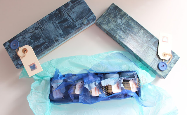 distressed denim gift boxes containing jam from Nanny Violet's Jams