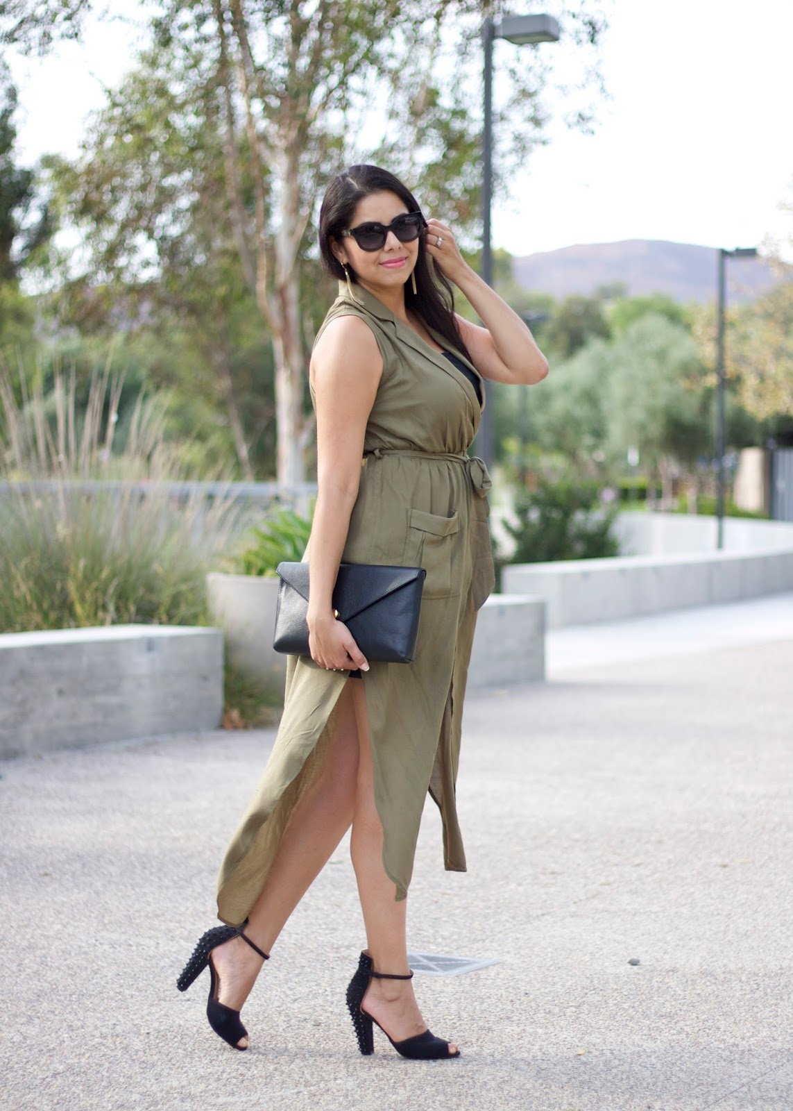 great dresses for fall 2015, summer olive dress, olive midi dress