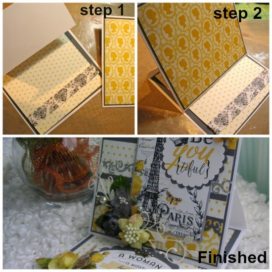 steps for easel card with petaloo and authentique papers