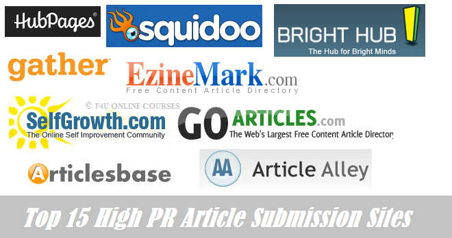 Top 15 High PR Article Submission Sites