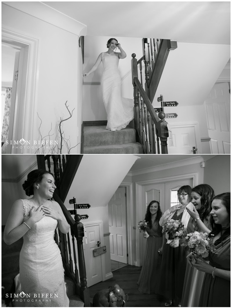 Bridal first look with bridesmaids