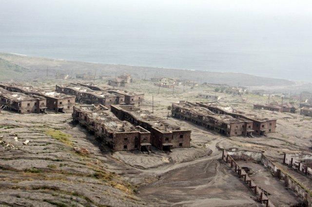 Casas en Plymouth en la zona de exclusión en la isla de Montserrat
