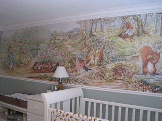 At home with our lady before and after the nursery for Beatrix potter mural wallpaper