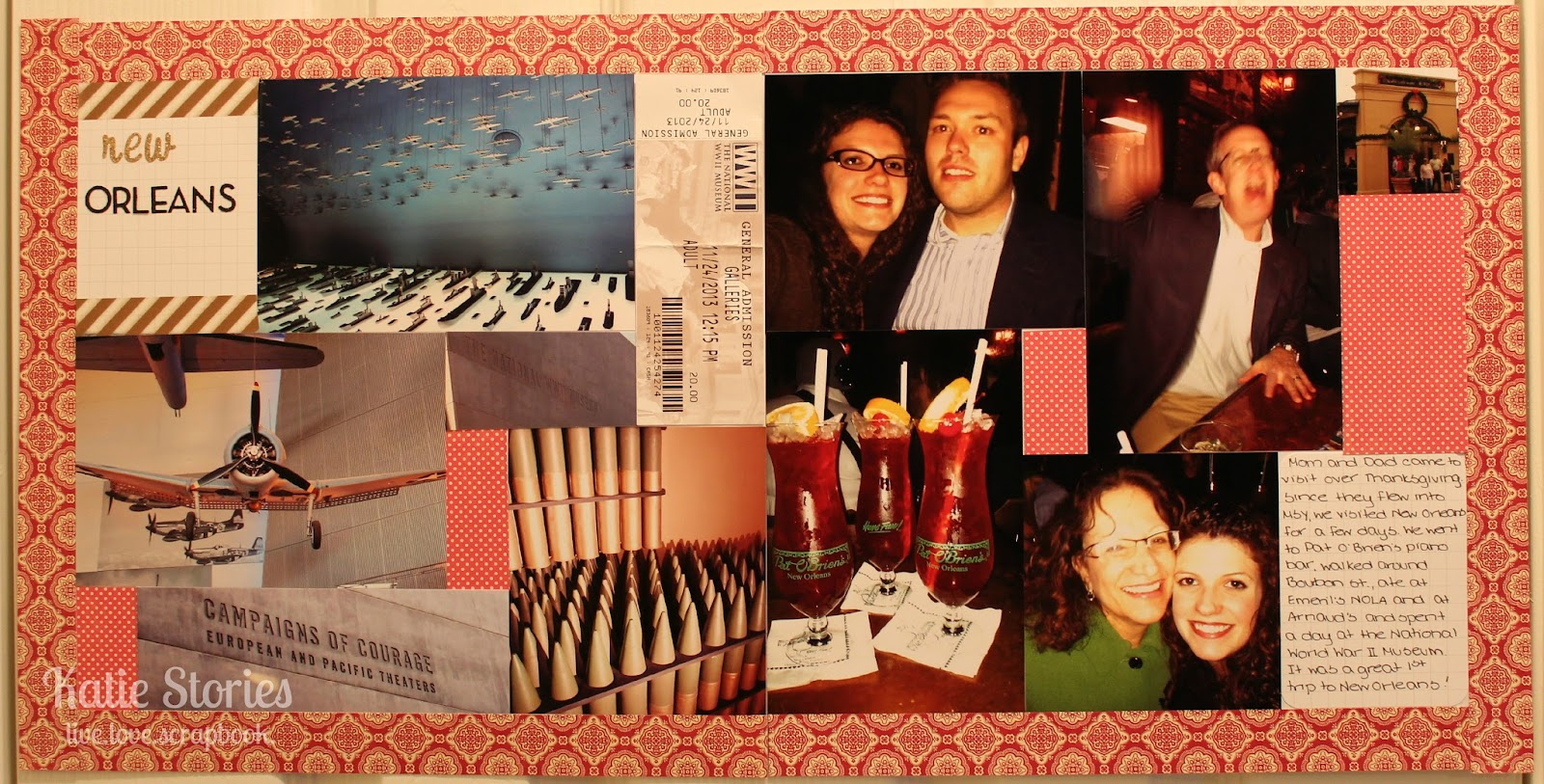 Scrapbook ideas new orleans - The Left Side Of The Layout Features The Wwii Museum Where We Spent A Majority Of Our Day On Sunday And On The Right Side There Are All The Pictures Of Us