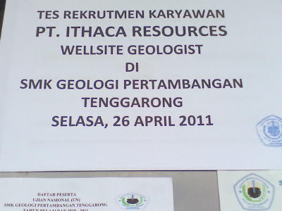 RECRUITMEN WELLSITE GEOLOGIST PT. ITHACA RESOURCES DI SMK GEOPER