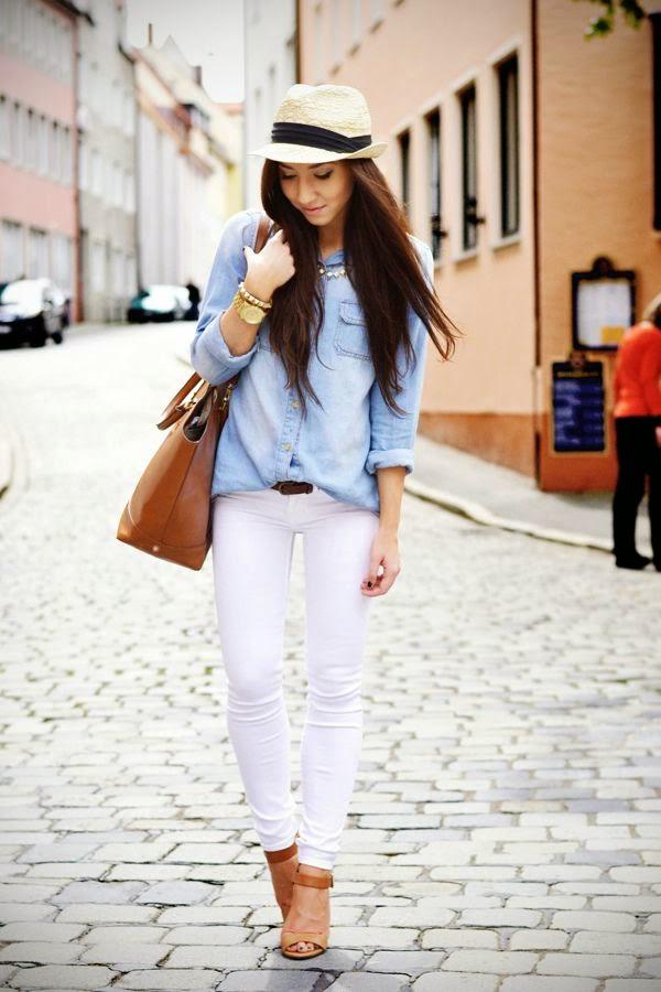Denim shirt & White jean