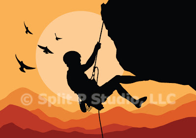mountain climbing vector art, male mountain climber