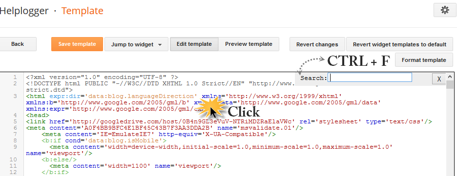 open the search box in blogger HTML
