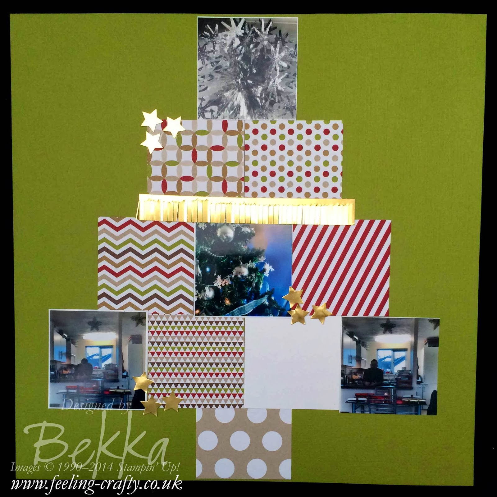 Christmas Tree Scrapbook Page by UK based Stampin' Up! Demonstrator Bekka Prideaux - check out her blog for lots of fun ideas
