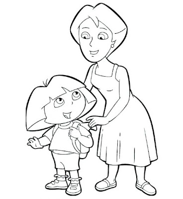 Dora and Lady Coloring Pages for Children