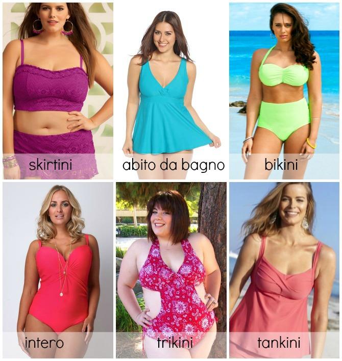 modelli di costumi da bagno plus size; intero, bikini, tankini, trikini, skirtini, abito da bagno