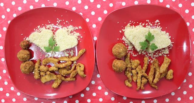 Couscous, fajitas de pollo crujiente y albondigas de pan