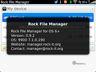 Rock File Manager es un potente gestor de archivos y explorador que nos permite gestionar nuestros documentos o archivos y los archivos en RAR y ZIP. Lo que es aún más interesante es la posibilidad de gestionar los archivos COD, es decir, los archivos de instalación de aplicaciones para BlackBerry. Con este sencillo programa, también puede instalar aplicaciones directamente en nuestra BlackBerry. El uso de Rock File Manager es muy sencillo e intuitivo con el hecho de unos pocos clics tenemos todas las características de esta excelente aplicación. En la pantalla principal encontramos los recuerdos que tenemos disponibles: memoria interna