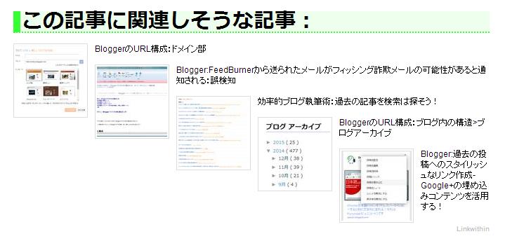 LinkWithin 関連記事一覧  今回作成したスタイルシートを適用したことで、 関連記事が階段状に表示されている