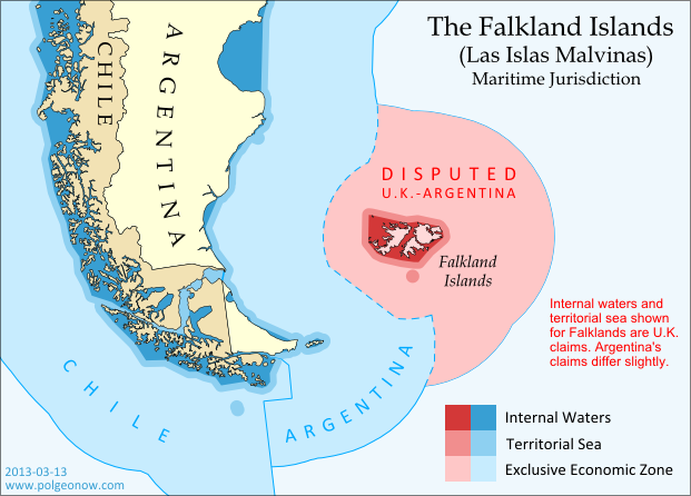 Map of maritime jurisdiction in the seas surrounding the Falkland Islands (Islas Malvinas), including territorial sea, internal waters, and exclusive economic zone (EEZ)