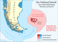 Map of the territorial seas and exclusive economic zone (EEZ) of the Falkland/Malvinas Islands disputed between the U.K. and Argentina