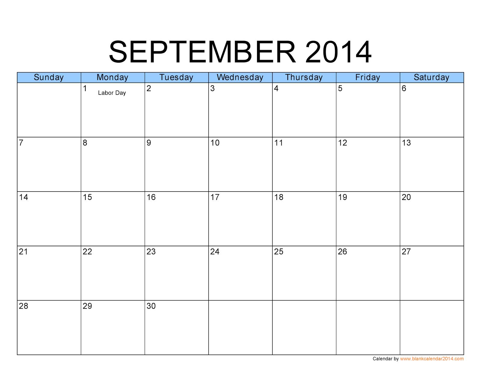 Free Printable Calendar: Free Printable Calendar September