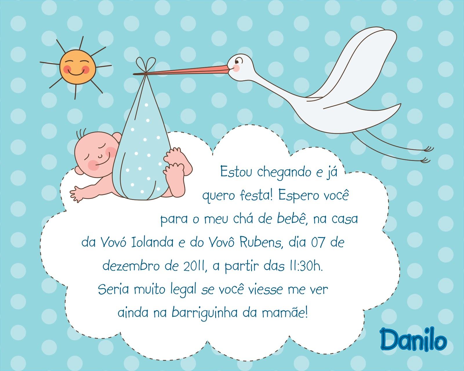 Convite Chá de Bebê Menino 15x12cm (enroladinho com laço azul