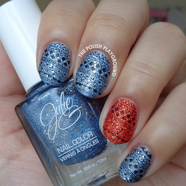 Blue and Red Textured Sweater Inspired Stamping Nail Art