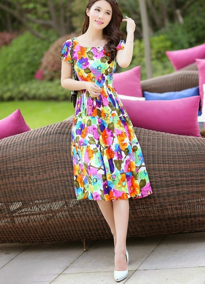 Elastic Waist Spring Floral Cotton Dress