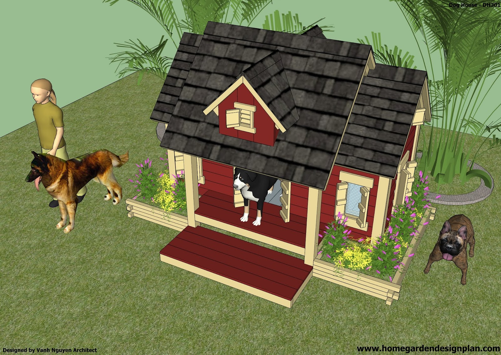 House construction dog house construction plans for Dog kennel floor plans
